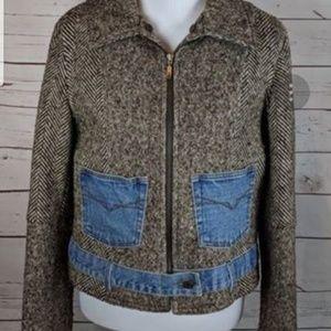 Guess Women's Wool Blend Jacket Tweed with Denim